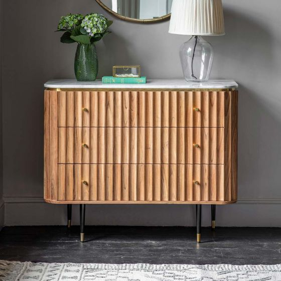 Flute Marble Chest of Drawers