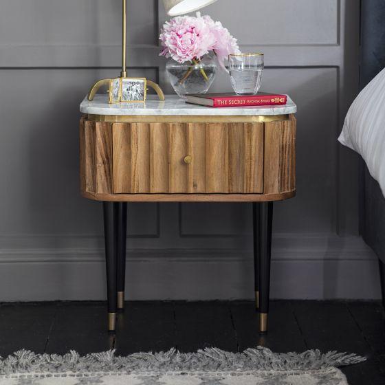 Flute Marble Bedside Drawer
