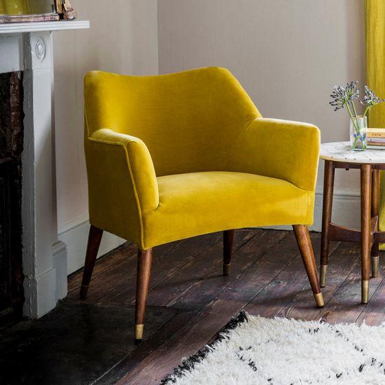 Astoria Armchair in Mustard Yellow Velvet