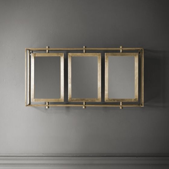 Tribeca Triple Wall Mirror in Brass