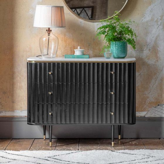 Flute Marble Chest of Drawers - Black