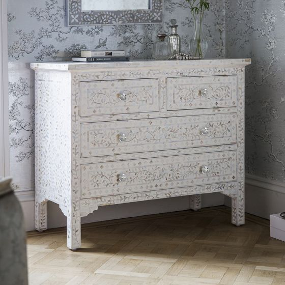 Mother of Pearl Chest in White