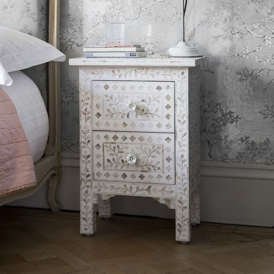 Mother of Pearl Inlay Bedside Chest of Drawers in White