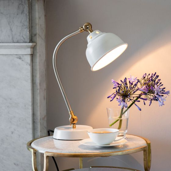 Clyde Table Light - White, Nickel and Brass