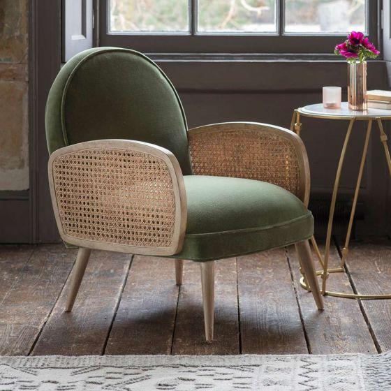 Emmeline Olive Green Velvet Armchair