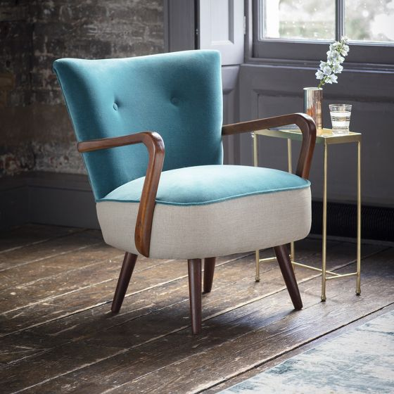 Calvin Armchair in Blue Teal Velvet and Linen