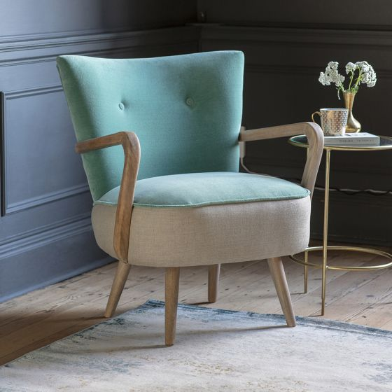 Calvin Armchair in Mint Velvet and Linen