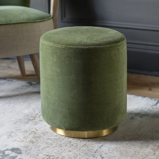 Carnaby Footstool in Olive Green Velvet