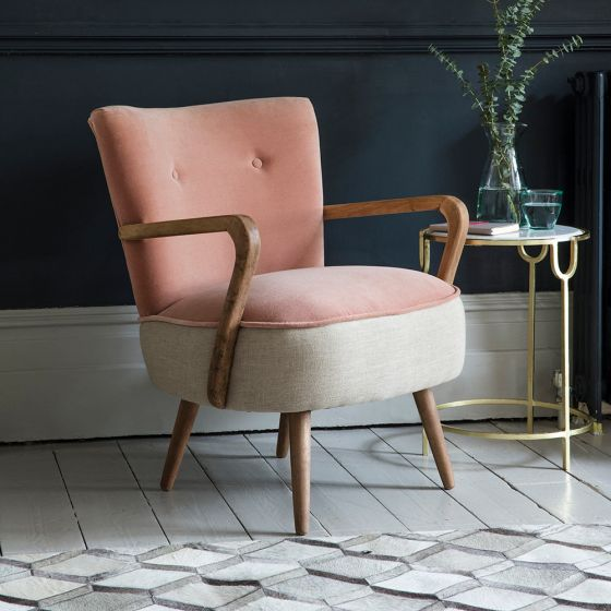 Calvin Armchair in Champagne Pink Velvet and Linen