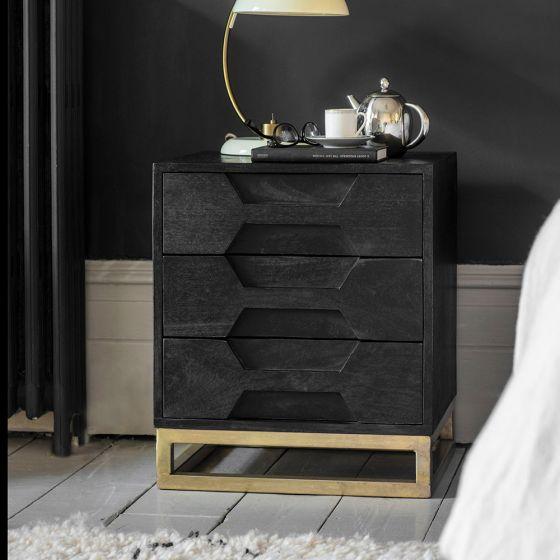Hex Bedside Drawers - Black