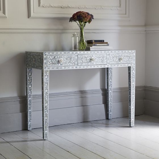 Mother of Pearl Console Table in Grey