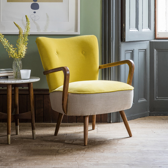 The Calvin Yellow Velvet Armchair