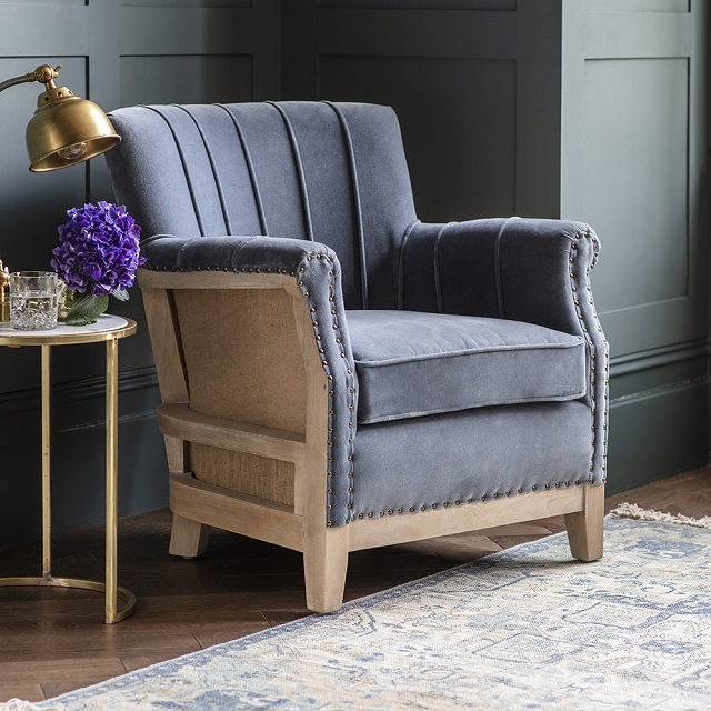 The Alresford Blue Velvet Armchair