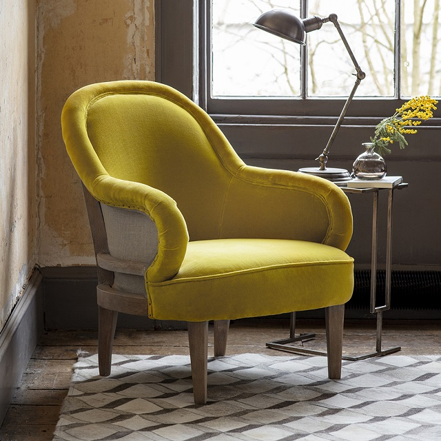 The Grayson Yellow Velvet Armchair
